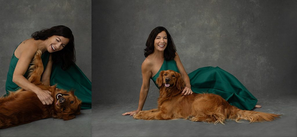 Portraits of Shana wearing green Halston gown with her Irish Setter