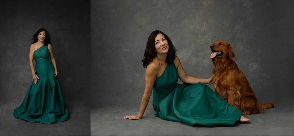 Portraits of Shana in green Halston gown with dog