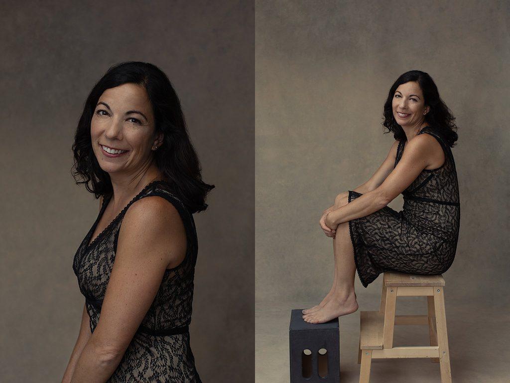 Portraits of Shana wearing a lace dress