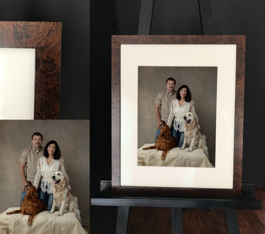NH family photo with dogs in studio, and a custom framed family portrait