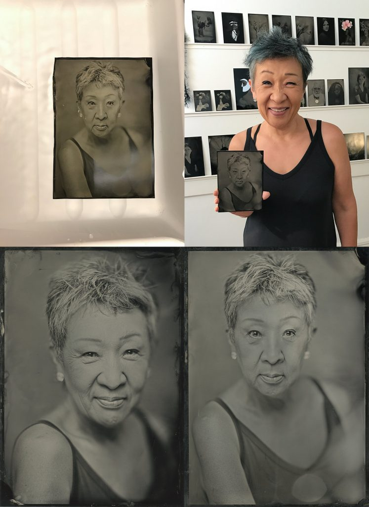 Collage of tintype process:  Haewon's portrait in the final rinse; Haewon with her finished portrait; two digital scans of Haewon's tintype portraits