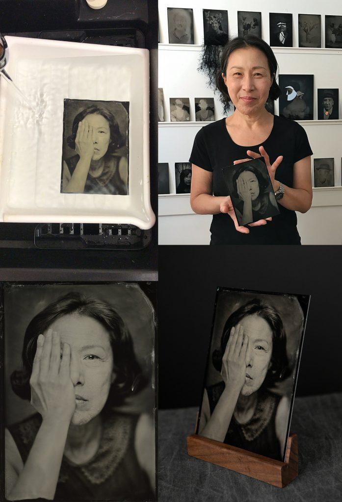 South Korean photographer Hwakyung Chang with tintype portraits by Maundy Mitchell at Maundy's studio in Plymouth, NH, USA