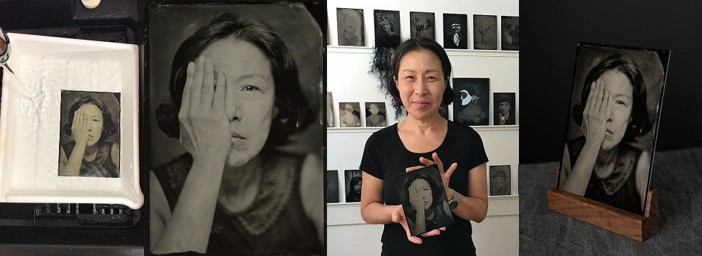 A collage of images from Hwa's tintype portrait experience at Maundy Mitchell Photography in Plymouth, NH:  tintype in the final rinse; cell pic of Hwa holding her tintype portrait; the final digital scan; the original tintype in a handmade black walnut pedestal.