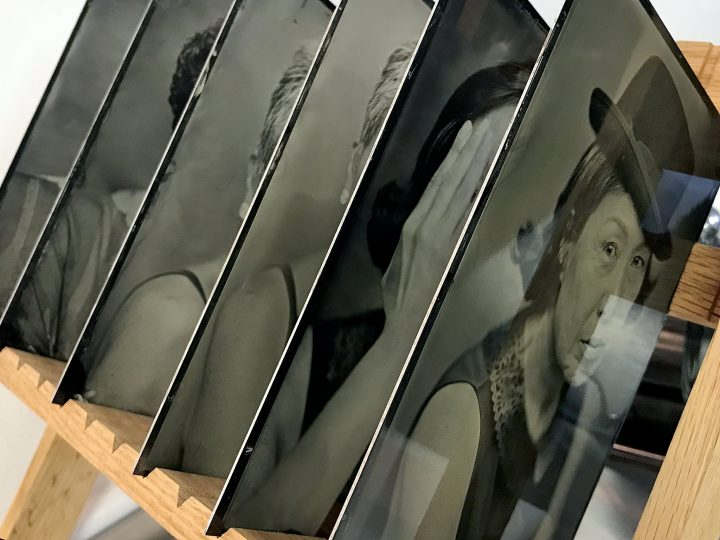 tintype portraits in the drying rack