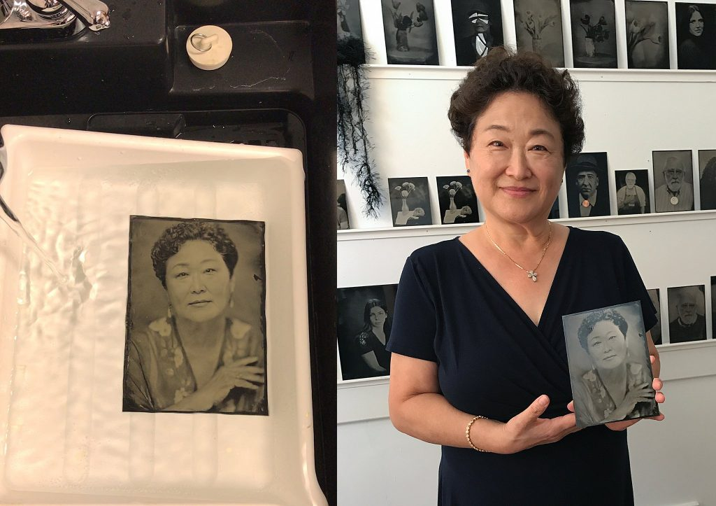Two images: tintype portrait of Jean in the final rinsing stage; cell phone photo of Jean with her tintype portrait
