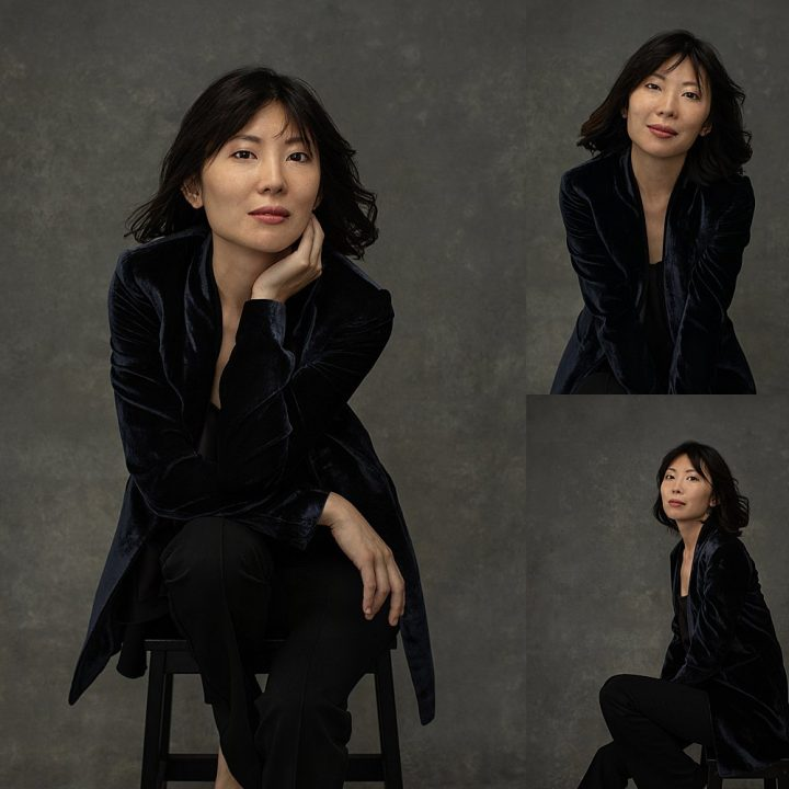 Photo collage of pianist Zi Liang wearing a velvet jacket