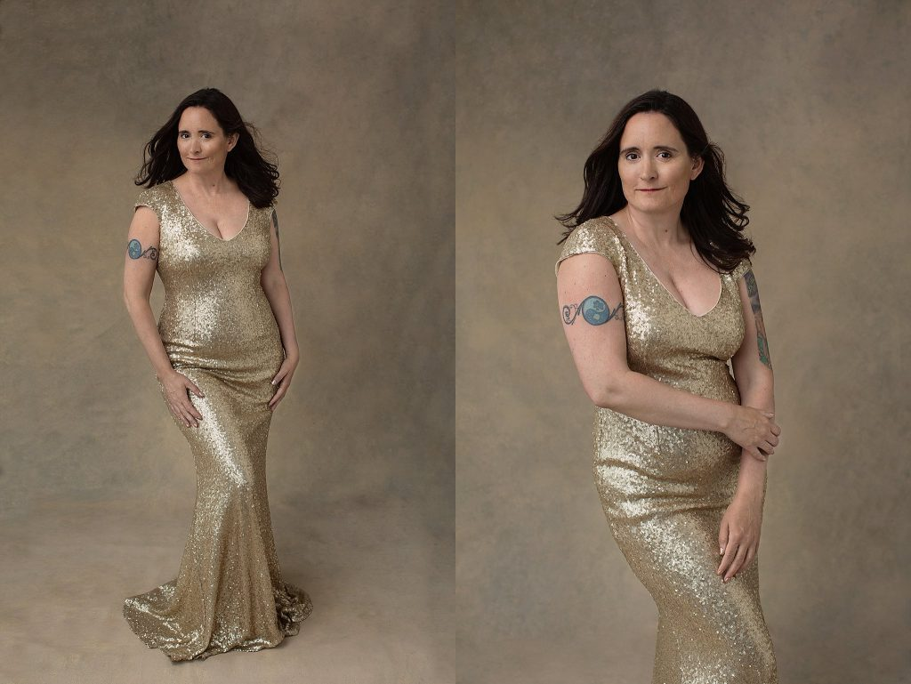 Portraits of Danielle wearing a gold evening gown from the studio wardrobe