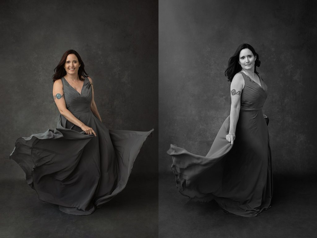 Portraits of Danielle wearing a gray gown and dancing