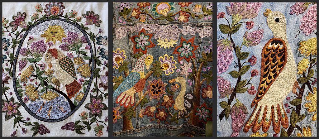 Three works by embroidery artist Jennifer Alba
