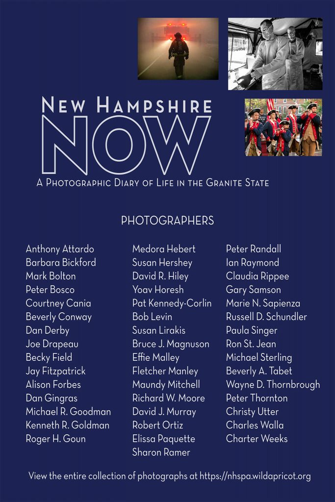 A poster panel listing the participating photographers for the NH NOW project