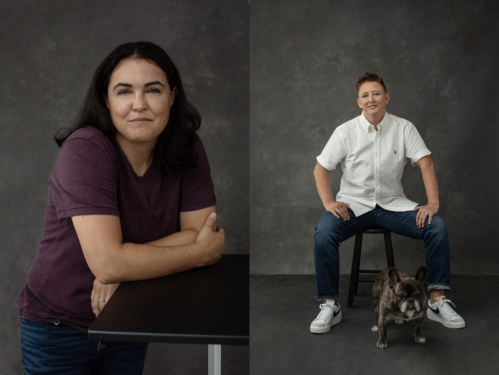Casual portraits for a couple and their dogs