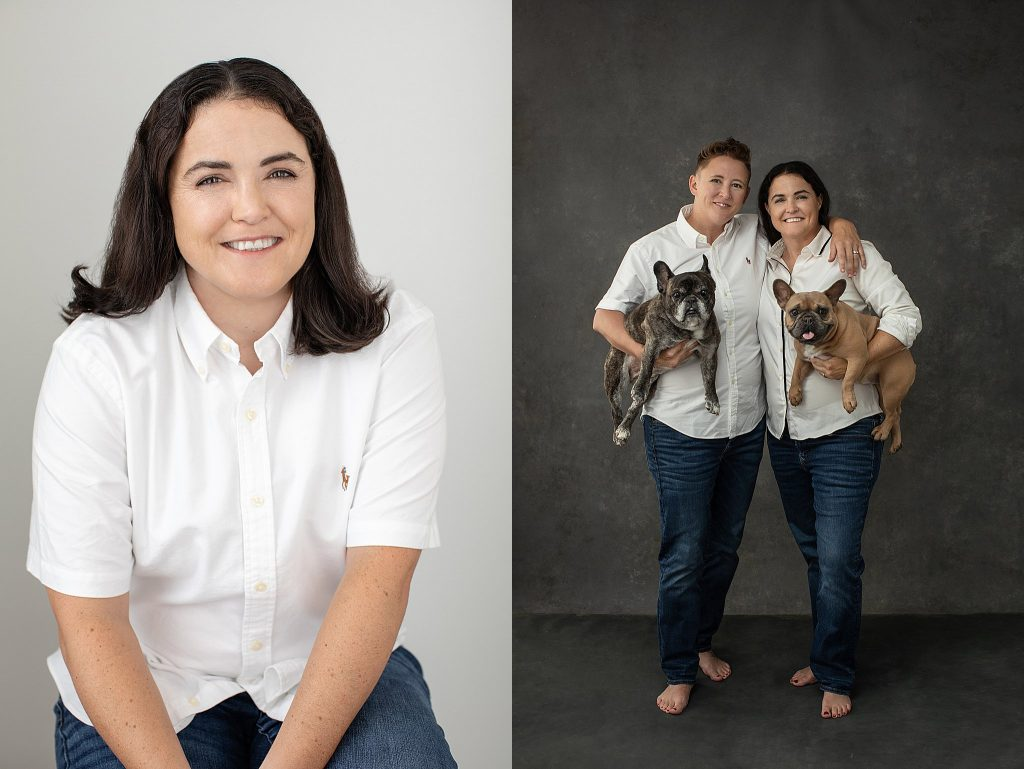 Photos of a married couple with their dogs