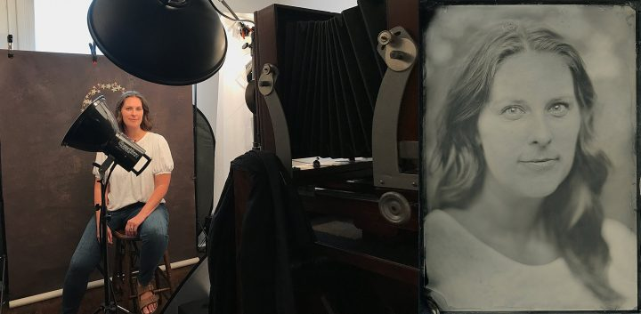 Behind the scenes during a tintype portrait session and a resulting portrait