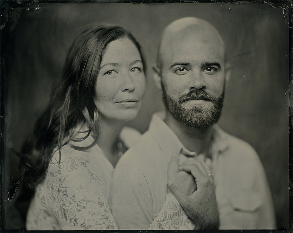 An 8x10 tintype portrait of Molly and Drew for their tenth anniversary.